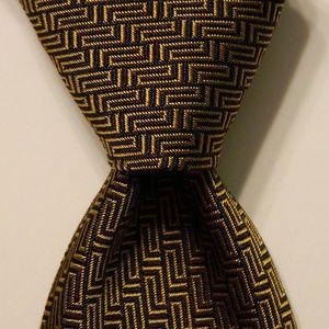 GIANNI VERSACE Men's Silk Necktie Gold/Black EUC